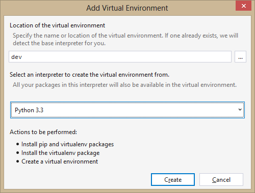 Adding a Virtual Python Environment
