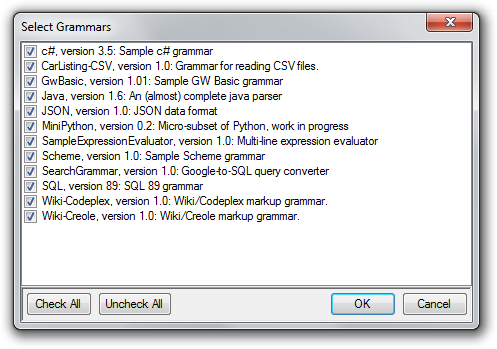 Select Grammars Dialog in Irony filled with grammars