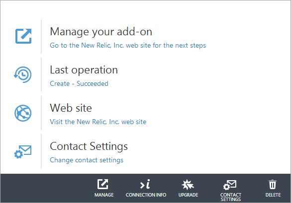 New Relic within the Azure Dashboard