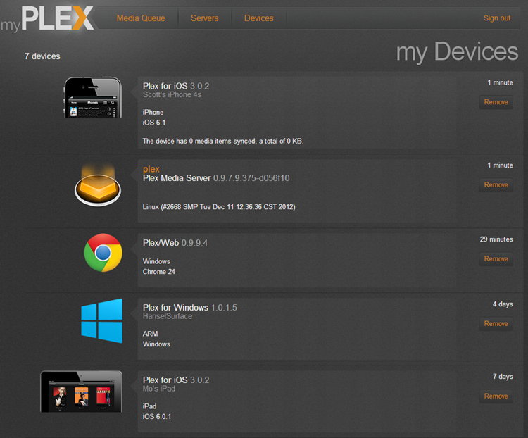 Plex has a list of devices atached
