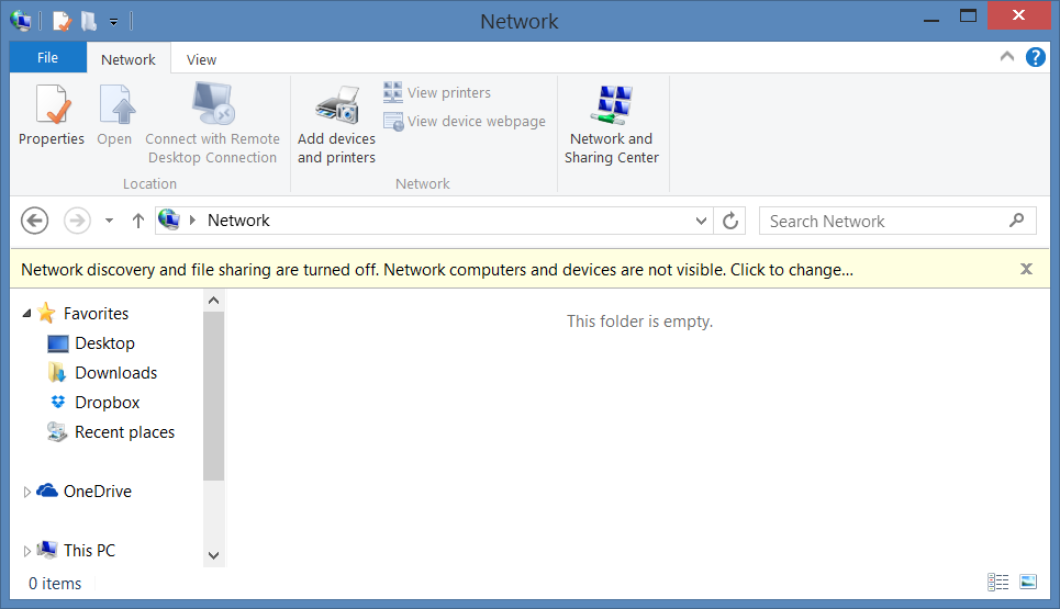 Network Discovery and file Sharing are turned off. Network Computers and devices are not visible.