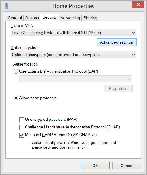 L2TP VPN in Windows 8