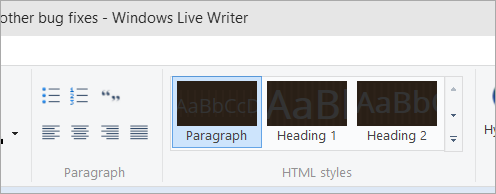 Windows Live Writer with black styles