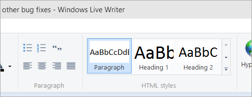 Using the Default Windows Live Writer Theme