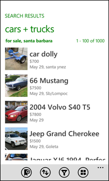 Craigslist Mobile for Windows Phone 7