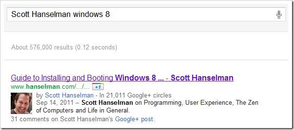 Googling for Windows 8 Scott Hanselman