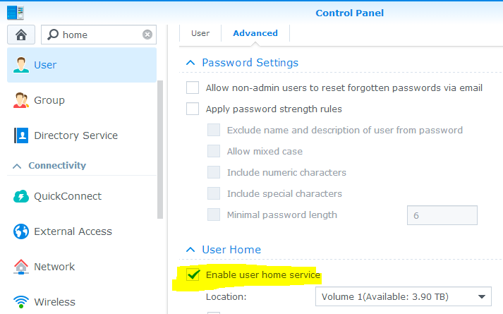 Enable user home service