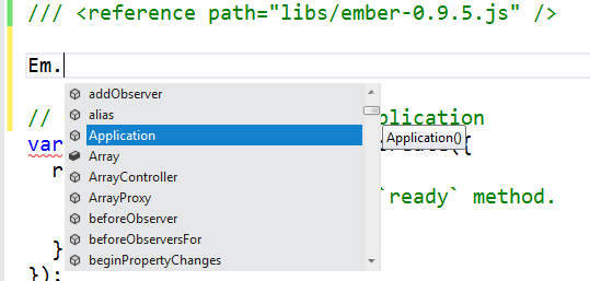 Ember in VS with intellisense
