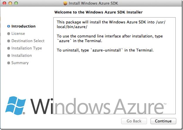 Azure SDK on a Mac