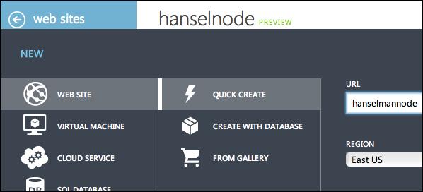 Creating a node application for Azure