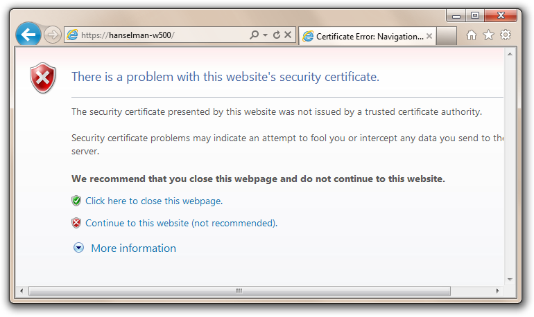 Working with SSL at Development Time is easier with IISExpress ...