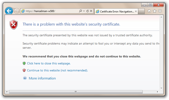 Description: Certificate Error