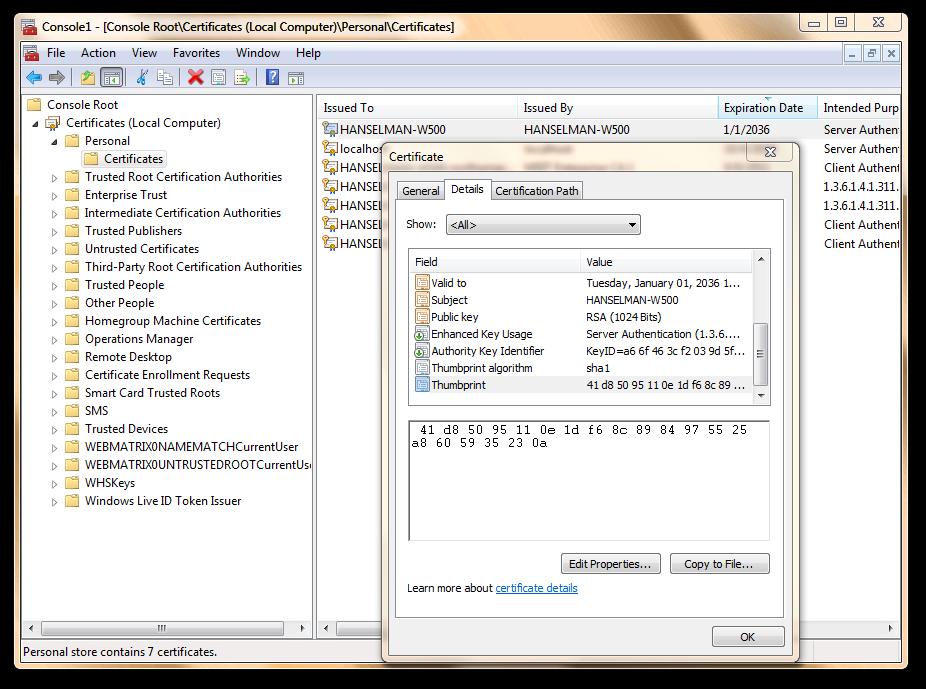 Description: Console1 - [Console Root_Certificates (Local Computer)_Personal_Certificates] (68)