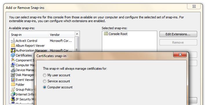 Description: Adding a Computer Cert