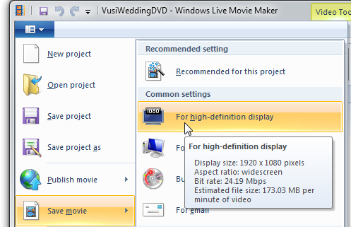 1080p is an option in Windows Live Movie Maker