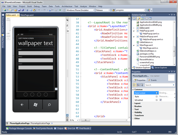 Visual Studio and LostPhoneScreen
