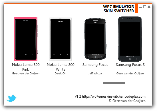 WP7 Emulator Skin Switcher