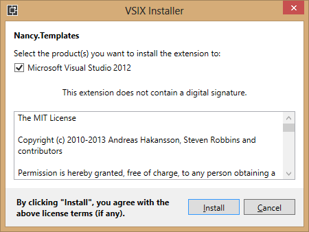 Installing NancyFX into Visual Studio