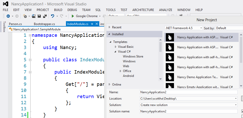 NancyFX inside Visual Studio