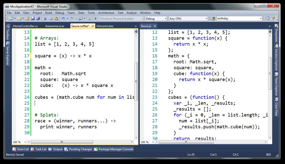 CoffeeScript In Visual Studio