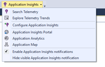 Application Insights Dropdown Menu