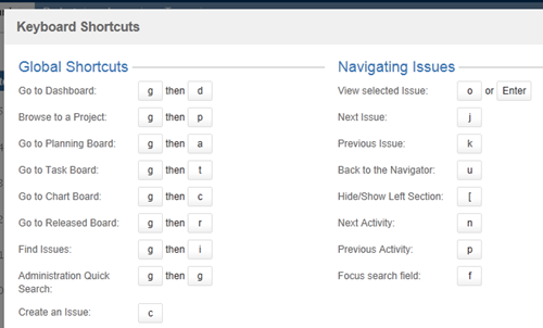 Some Jira shortcuts