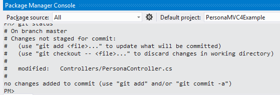 Git within the NuGet Package Manager Console