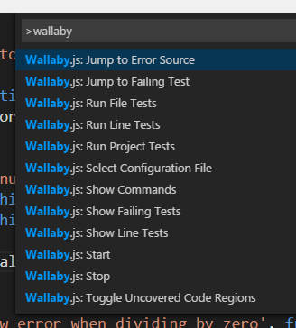 WallabyJS Commands in VS Code
