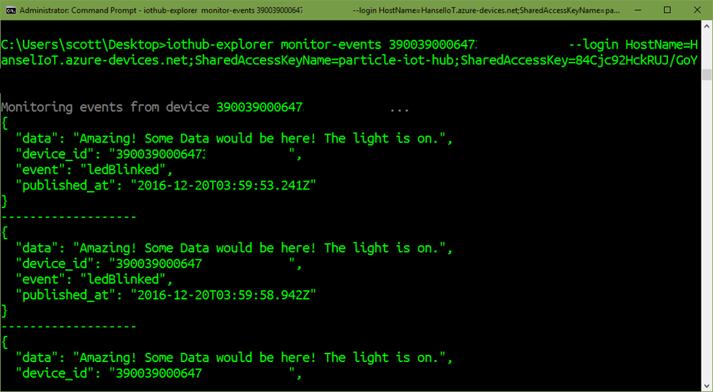 IoTHub-Explorer monitor-events command line