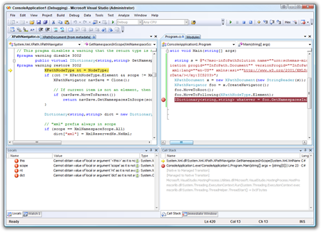 ConsoleApplication1 (Debugging) - Microsoft Visual Studio (Administrator)