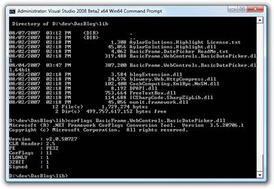 Administrator Visual Studio 2008 Beta2 x64 Win64 Command Prompt