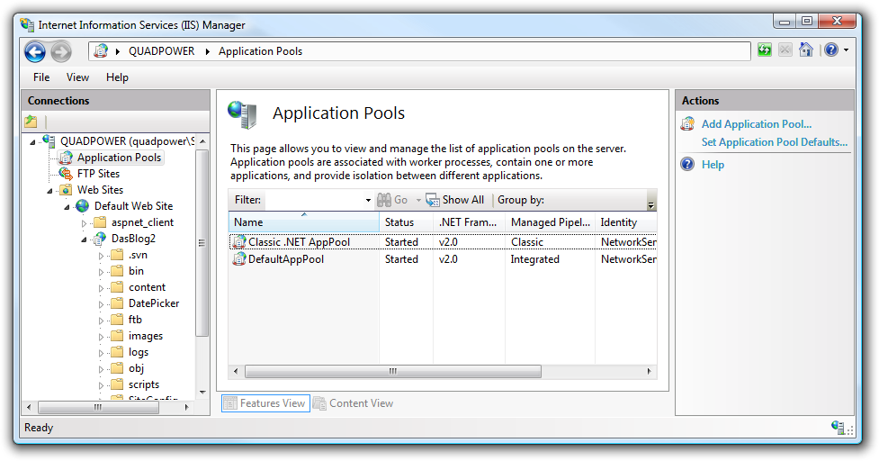 iis application pool identity user