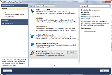 Add Library NuGet Dialog