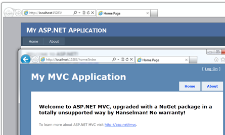 WebForms and MVC together in the same app, shown in the browser