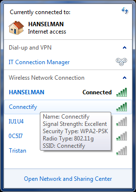 Conectify in my list of WiFi hotspots
