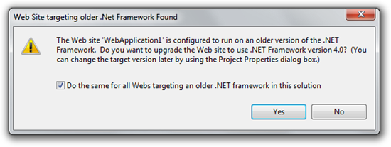 Web Site targeting older .Net Framework Found (8)