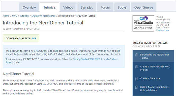 Example Nerddinner Tutorial with Multi-part article navigation at right