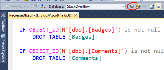 Recreate DB SQL inside of Visual Studio