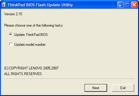 ThinkPad BIOS Flash Update Utiltiy