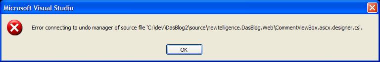 Error al conectarse al administrador de deshacer del archivo de código fuente
