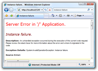 Instance failure. - Windows Internet Explorer