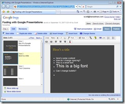 Fooling with Google Presentations - Windows Internet Explorer