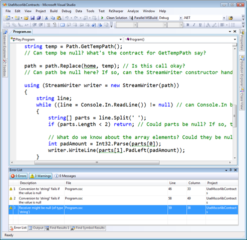 UseMscorlibContracts - Microsoft Visual Studio