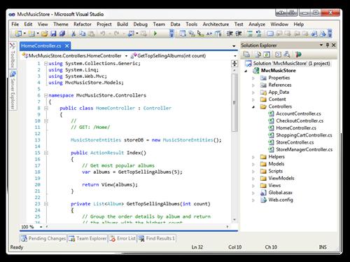 MvcMusicStore - Microsoft Visual Studio