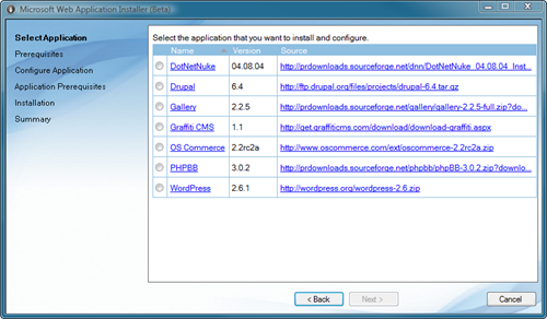 Microsoft Web Application Installer (Beta)