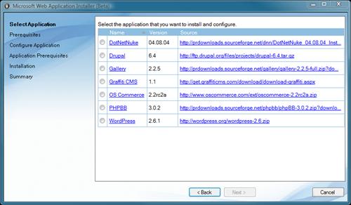 Microsoft Web Application Installer (Beta)
