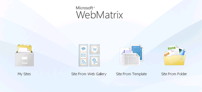 WebMatrix Starting Page