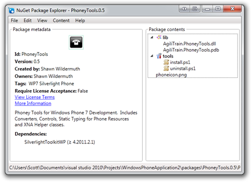 NuGet Package Explorer - PhoneyTools.0.5 (11)