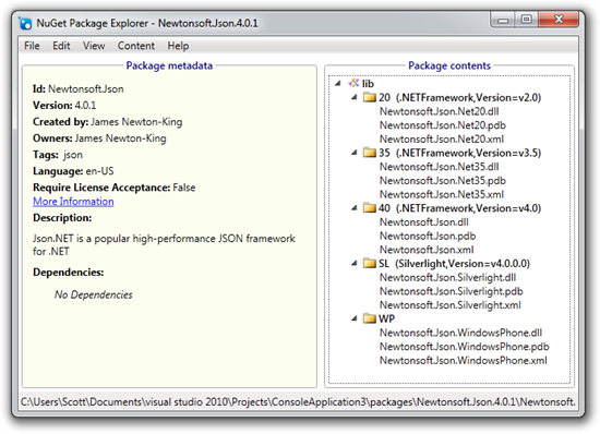 NuGet Package Explorer - Newtonsoft.Json.4.0.1 (15)
