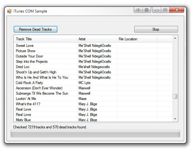 iTunes COM Sample Screenshot